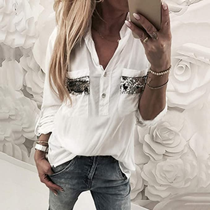 piabigka - Camisa de Manga Corta para Mujer, de algodón y Lino ...