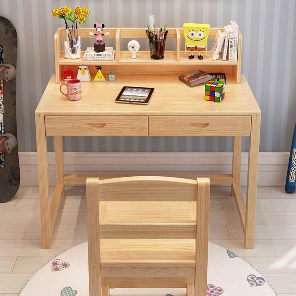 Mesa De Madera Mesa de Estudio para niños Ajustable Estudiante Escritorio con Estante para Libros Casa Juego de Mesa y Silla (Color : Unpainted, ...