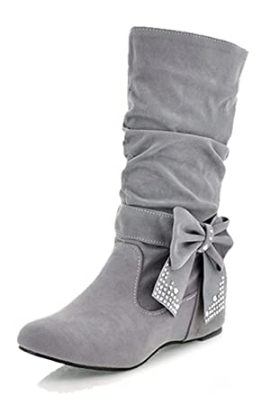 a570ef313af3 TOOGOO(R) Women s Fashion Mid High Flat Bowtie Slouch Boots Gray 37 ...