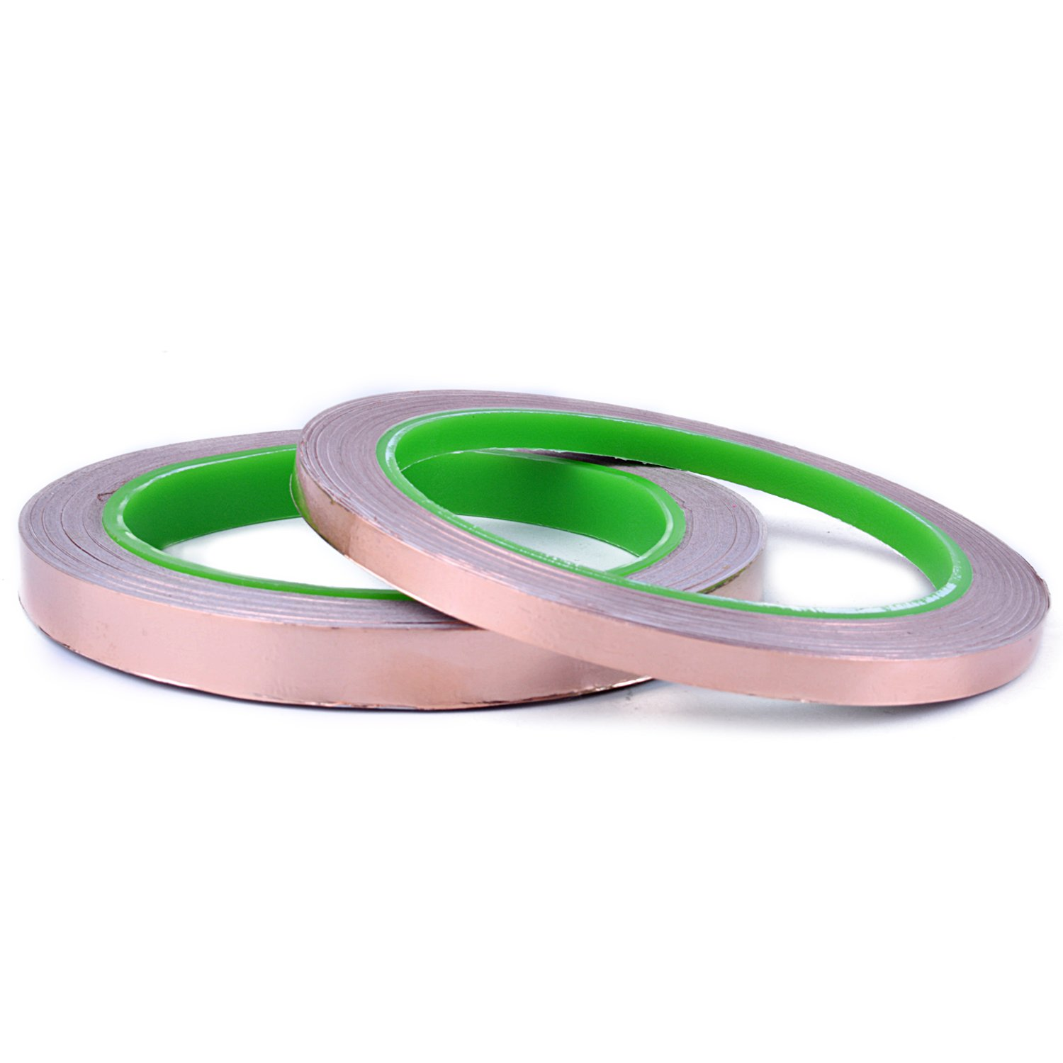 euhuton 2 Roll Dual Copper Foil Tape Conductive Adhesive for Paper Circuits,Electrical Repairs,Art Work,20m(6mm and 10mm)