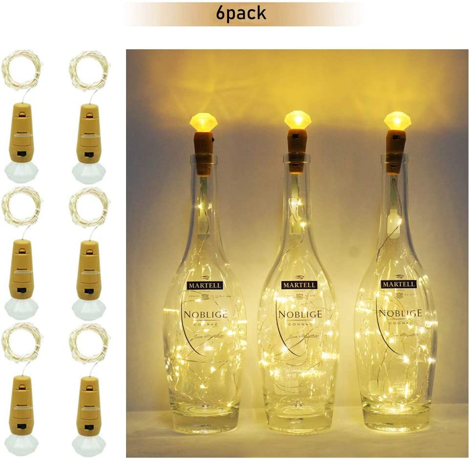 Warm White Battery Operated Starry Lights for DIY Christmas Halloween Wedding Party Indoor Outdoor,8 Pack 20 LED Bottle Cork String Lights Wine Bottle Fairy Mini String Lights Copper Wire Ninight