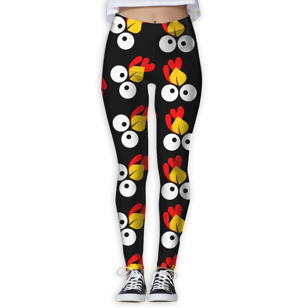 YDBM Cute Turkey Face Women Printed Yoga Pants Elastic Tights Workout Running Leggings