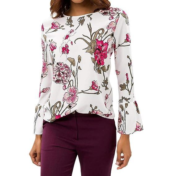 Blusa Chiffon Mujer,Camiseta con Estampado Floral de Manga Larga con Estampado Floral