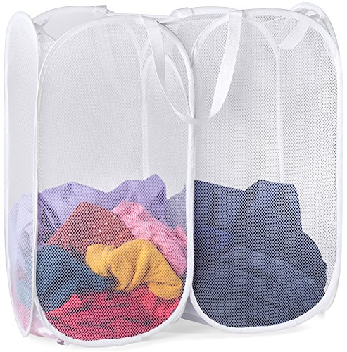 Mesh Pop-Up Laundry Hamper - 2 COMPARTMENTS - Easy to Open and Folds Flat for Storage. Hampers Mesh Material Helps Eliminate Laundry Odors and Moisture. Great Laundry Hamper for College Dorm. (White)
