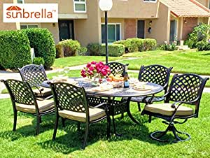 Nevada 7-Piece Cast Aluminum Patio Dining Set, 6 Stationary Chairs