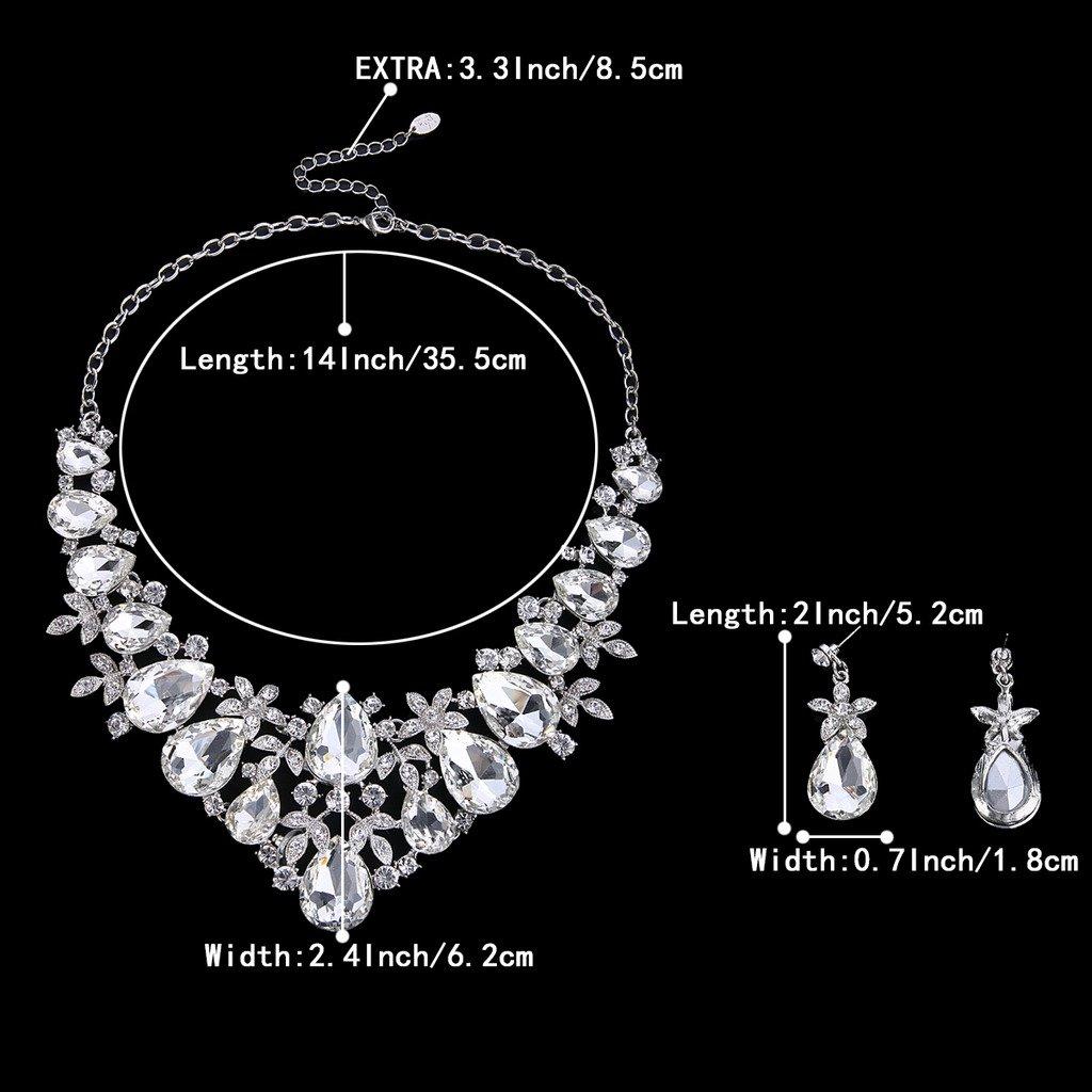 BriLove Women's Bohemian Boho Crystal Flower Leaf Vine Teardrop Statement Necklace Dangle Earrings Set Clear Silver-Tone by BriLove (Image #3)