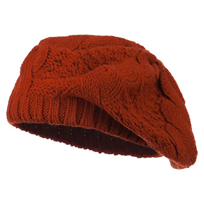 b53ec6d8fc1 Acrylic Cable Knit Beret - Rust OSFM at Amazon Women s Clothing store
