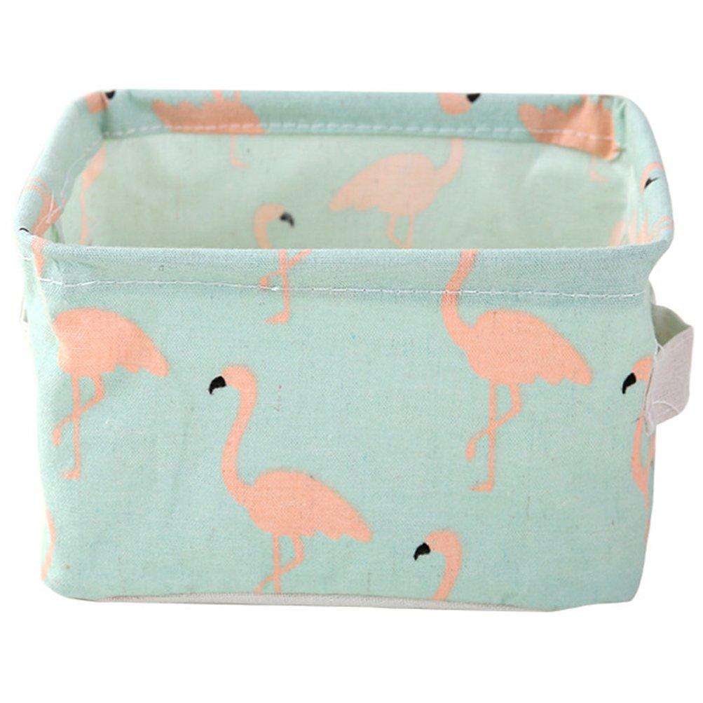 Saumota Home Organizer Nursery Baskets Desktop Storage Storage Bins-Green Flamingo