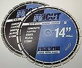 "(2) Pack 14"" Segmented Diamond Blade 10mm General Purpose for Concrete, Brick, Block, Paver. Para uso general"