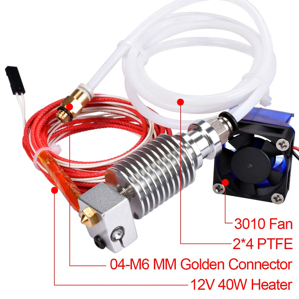 12V 0.4mm Nozzle BZ 3D All Metal V6 J-Head Hotend with Fan Bowden Extruder for 3D Printer 1.75mm Filament