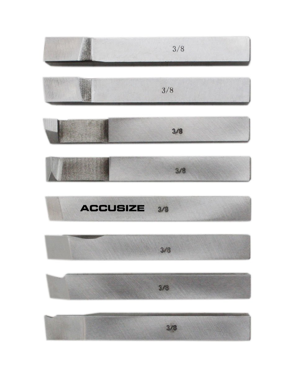 AccusizeTools - 8 pcs H.S.S. Tool Bit Set, Pre-Ground for Turning & Facing Work, for Aluminum.Steel, Brass, Plastic & Wood (3/8 inch) by Accusize Industrial Tools (Image #3)