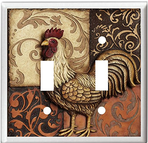 ROOSTER TUSCAN PATCHWORK DECOR LIGHT SWITCH COVER PLATE OR OUTLET (2x Toggle)