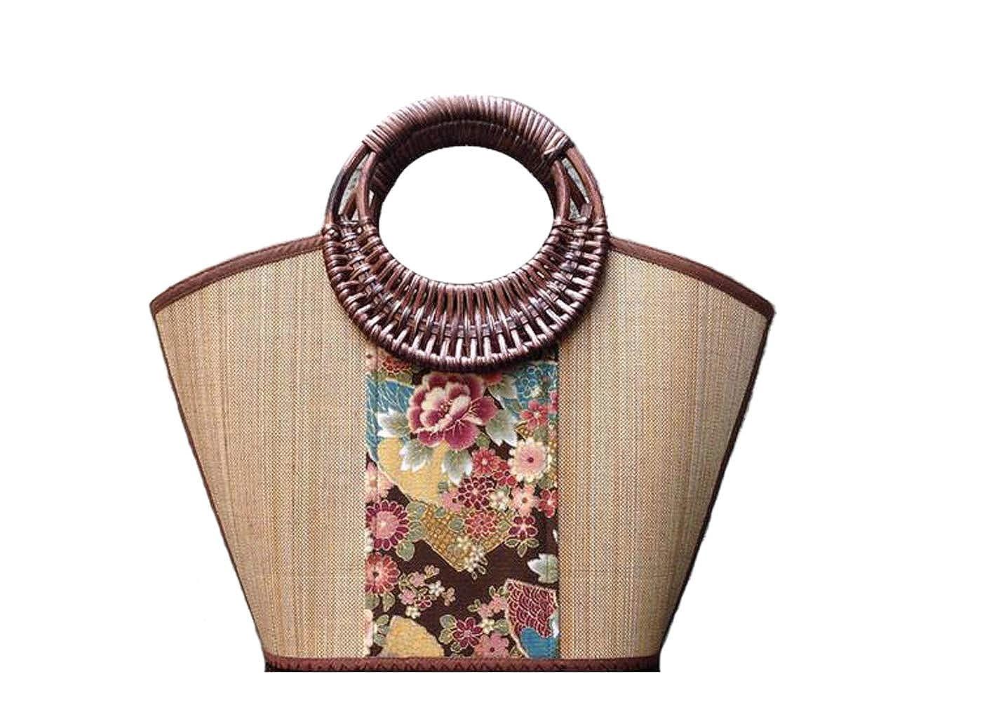 LYM Classic style art print hand rattan grass bamboo weaves carry sen department harajuku take female bag