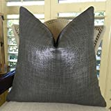 Thomas Collection Metallic Charcoal Gray HandThrow Pillow, Grey Designer Modern Sofa Pillow, COVER ONLY, NO INSERT, Handmade in US, 11374