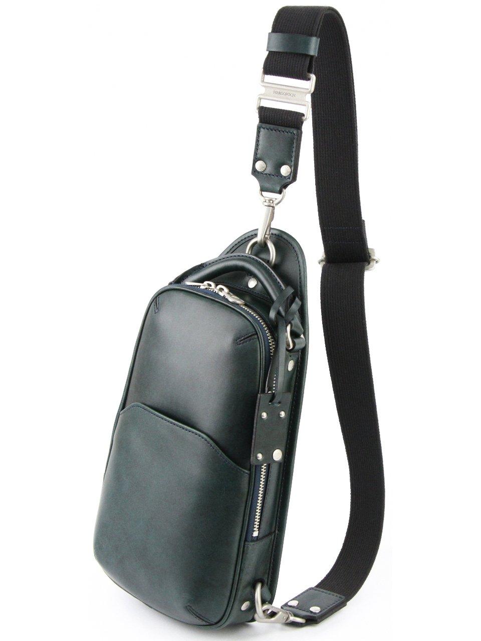 [エルゴポック] ワンショルダーバッグ 本革 06 ワキシングレザー 06-OS メンズ B00D3G095E ミッドナイトグリーン/ネイビー ミッドナイトグリーン/ネイビー