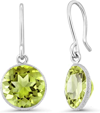 Gem Stone King 1.42 Ct Round Green Peridot 18K Yellow Gold Plated Silver Earrings