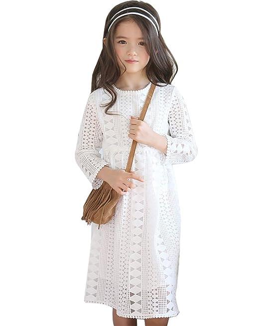 CozofLuv - Vestido - kimono - para niña blanco blanco