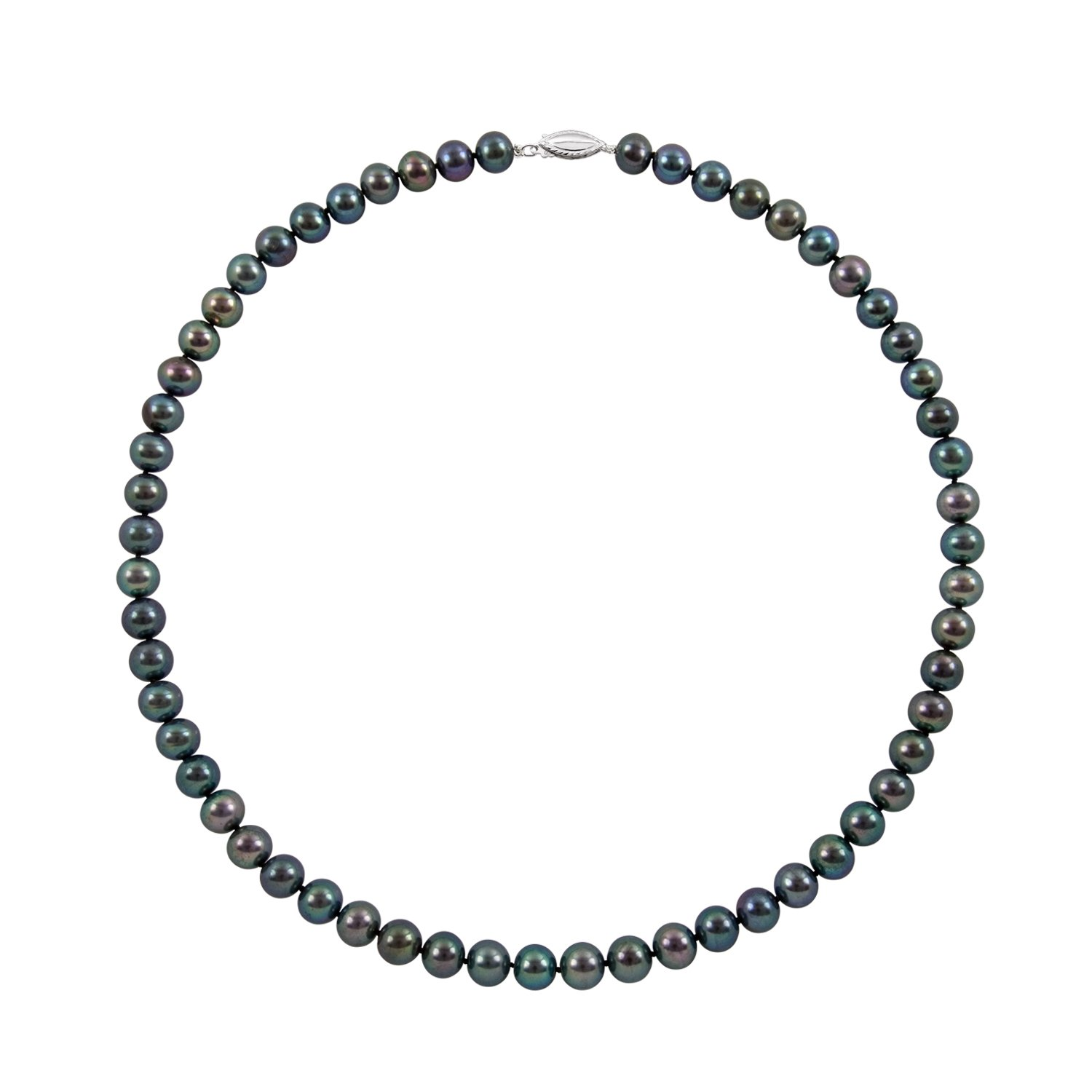 Sterling Silver 6.0-7.0mm Black Cultured Freshwater Pearl Strand Necklace,24''