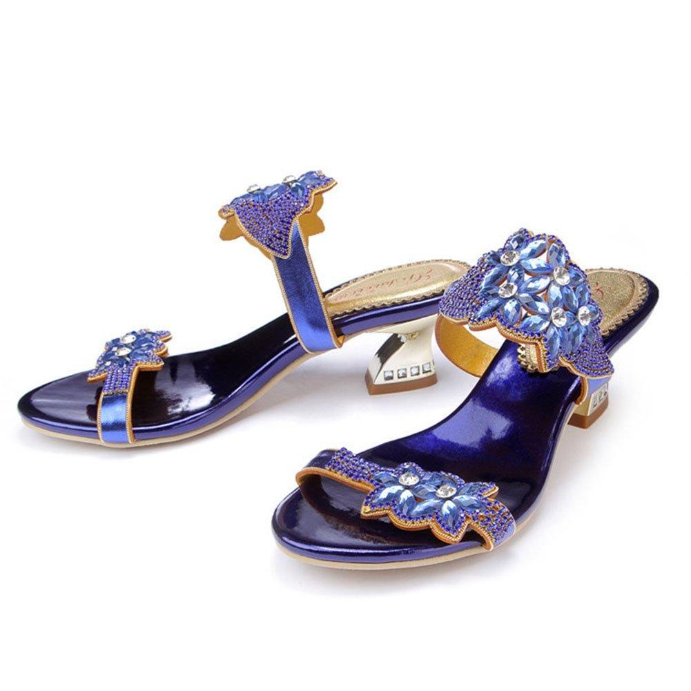 SASA SASA SASA Summer New Thick con strass Sandali Scarpe da donna Pantofole con tacco alto Sandali di alta qualità Large Dimensione, EU39 UK6.5 638046