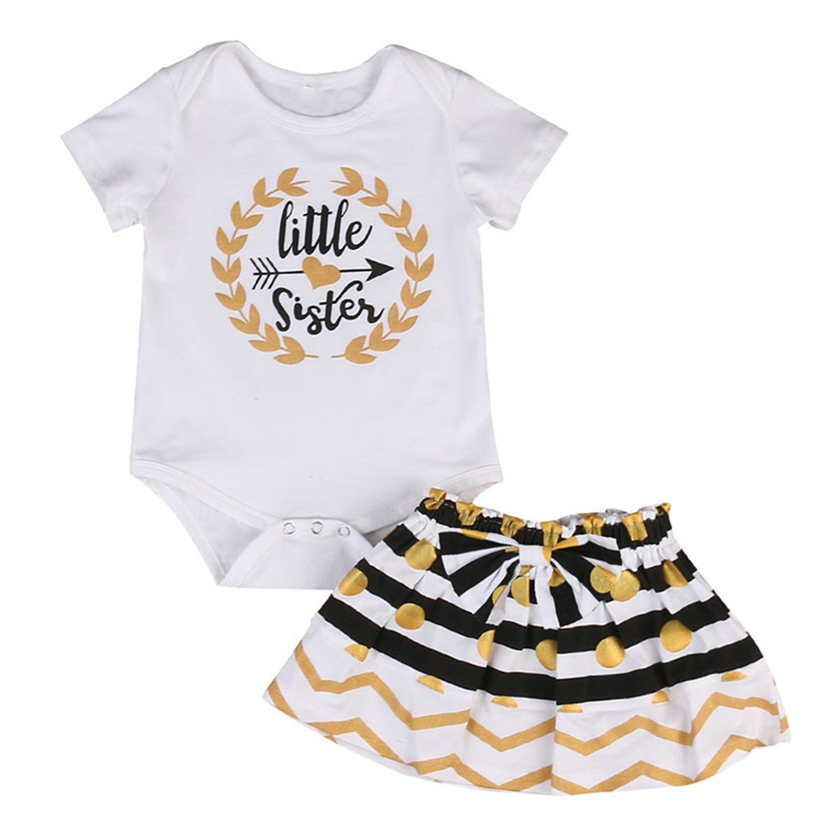 da89c1be29df Amazon.com: Infant Toddler Girls Matching Tops + Stripe Dots Skirt Outfits  Clothes Set: Clothing