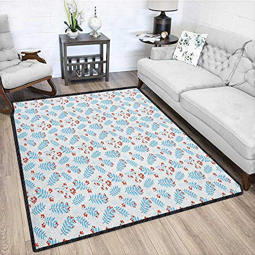 Winter Polyester Area Rug Mat,Seasonal Ash Berry and Blue Toned Foliage Leaves Snowflake Background Waterproof and Easy Clean Pale Blue Vermilion White 67