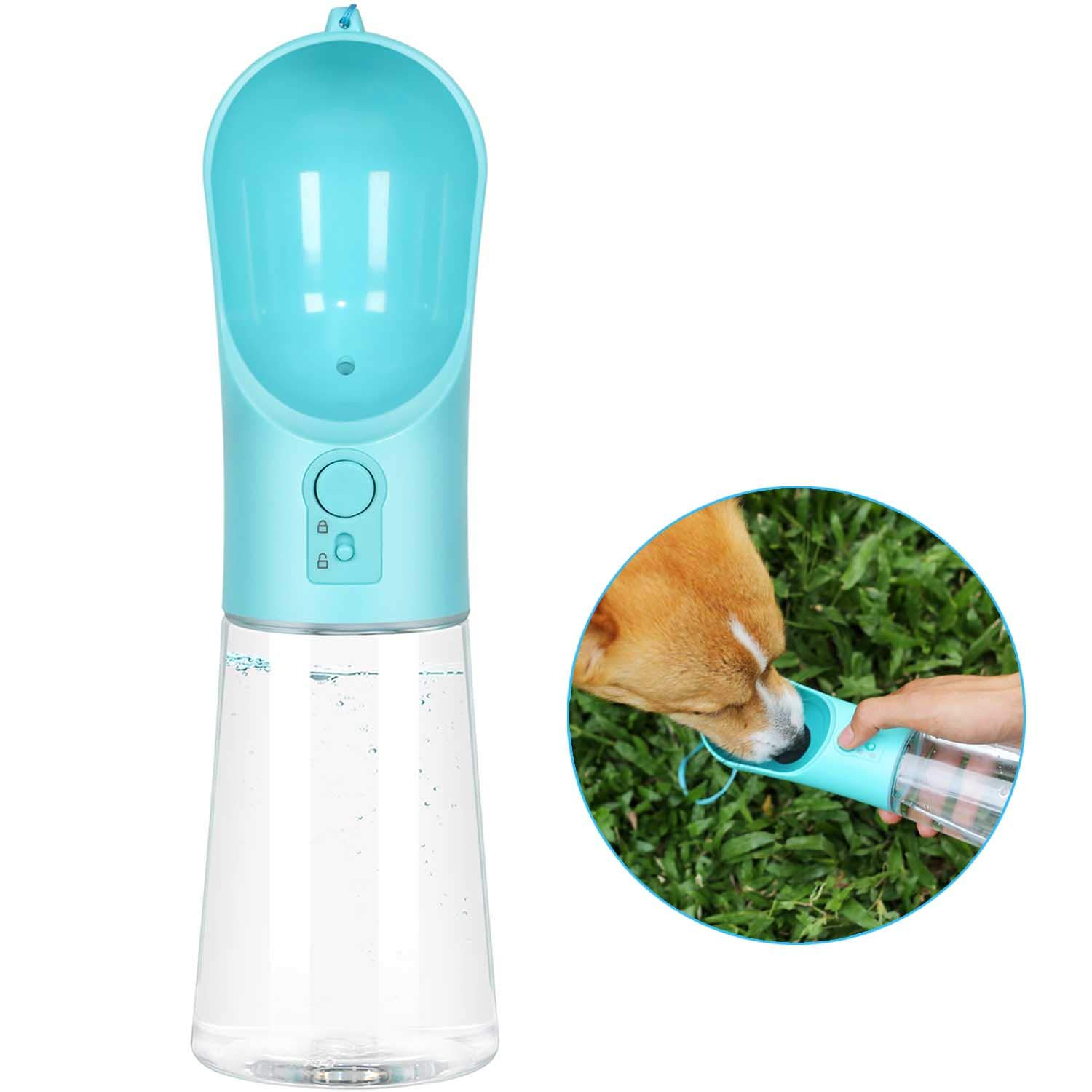 UPSKY Dog Water Bottle Portable Pet Water Bottle with Activated Carbon Filter Leak Proof Dog Water Dispenser, Lightweight Dog Travel Water Bottle Bowl for Walking BPA Free 14 OZ