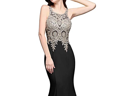 Sexy Sheer Back Beaded Lace Evening Dress Cheap White Evening Gown Vestido de Festa,Black