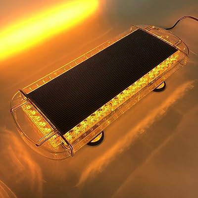 VSLED Black Aluminium Case 55cm 48 LED Emergency Recovery LightBar Wrecker Flashing LightBar Beacon Strobe Amber Light Bar: Automotive
