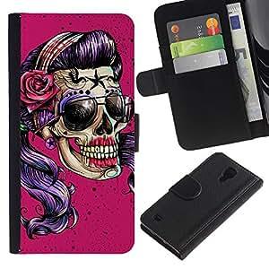 ZCell / Samsung Galaxy S4 IV I9500 / Pink Sunglasses Skull Funny Metal Rock / Caso Shell Armor Funda Case Cover Wallet / Pink gafas de sol cr&aac