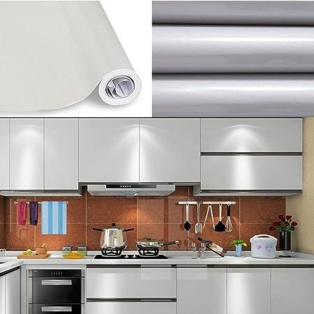 Lámina autoadhesiva de HDM, 500 x 61 cm (largo x ancho), 0,22 mm de grosos, lámina decorativa reciclable respetuosa con el medio ambiente para muebles, papel pintado brillante con partículas brillantes en