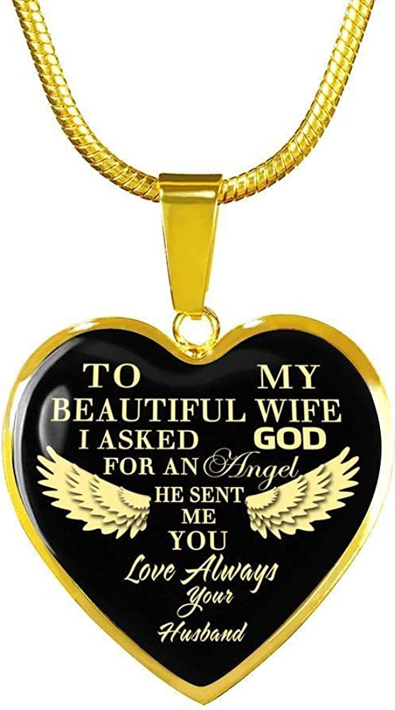 18 K Gold Plated To My Beautiful Wife Heart Pendant Necklace Sentimental Gifts I Asked God For An Angel He Sent Me You Personalized Xmas Present Birthday Gifts Ideas