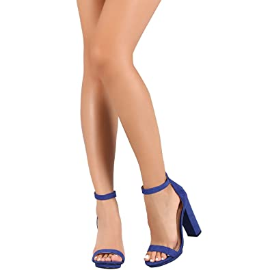2cb36bfffd Wild Diva Womens Open Toe High Chunky Heel Ankle Strap Platform Sandal Pumps  Shoes Royal Blue