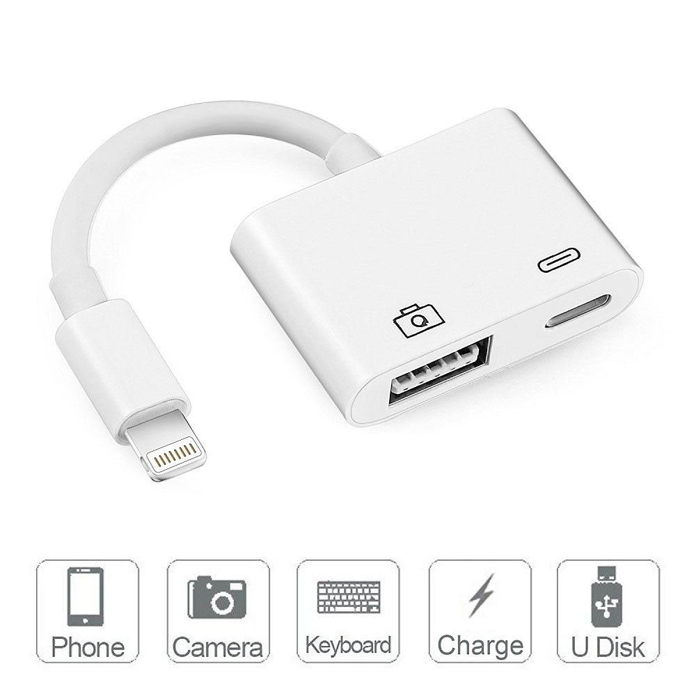 Lightning To USB Camera Adapter, Adwox Lightning to USB 3.0 Female OTG Adapter Cable With USB Power Interface Data Sync Charge Cable for iPad mini Air Pro and iPhone X/8/7Plus, No App Required, Suppor