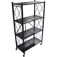 4 Tier Foldable Storage Shelf Unit with Wheel, Heavy Duty Storage Shelving Unit for Kitchen, Garage and Laundry Bathroom…