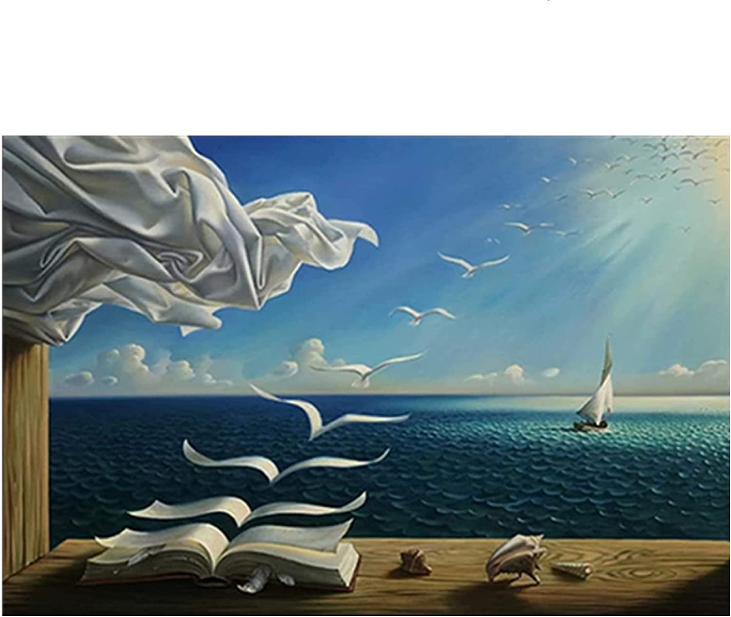 Salvador Dali Oil Painting The Waves Book Sailboat Wall Paintings on Canvas Posters and Prints Wall Art Abstract Pictures Artwork Giclee Decor