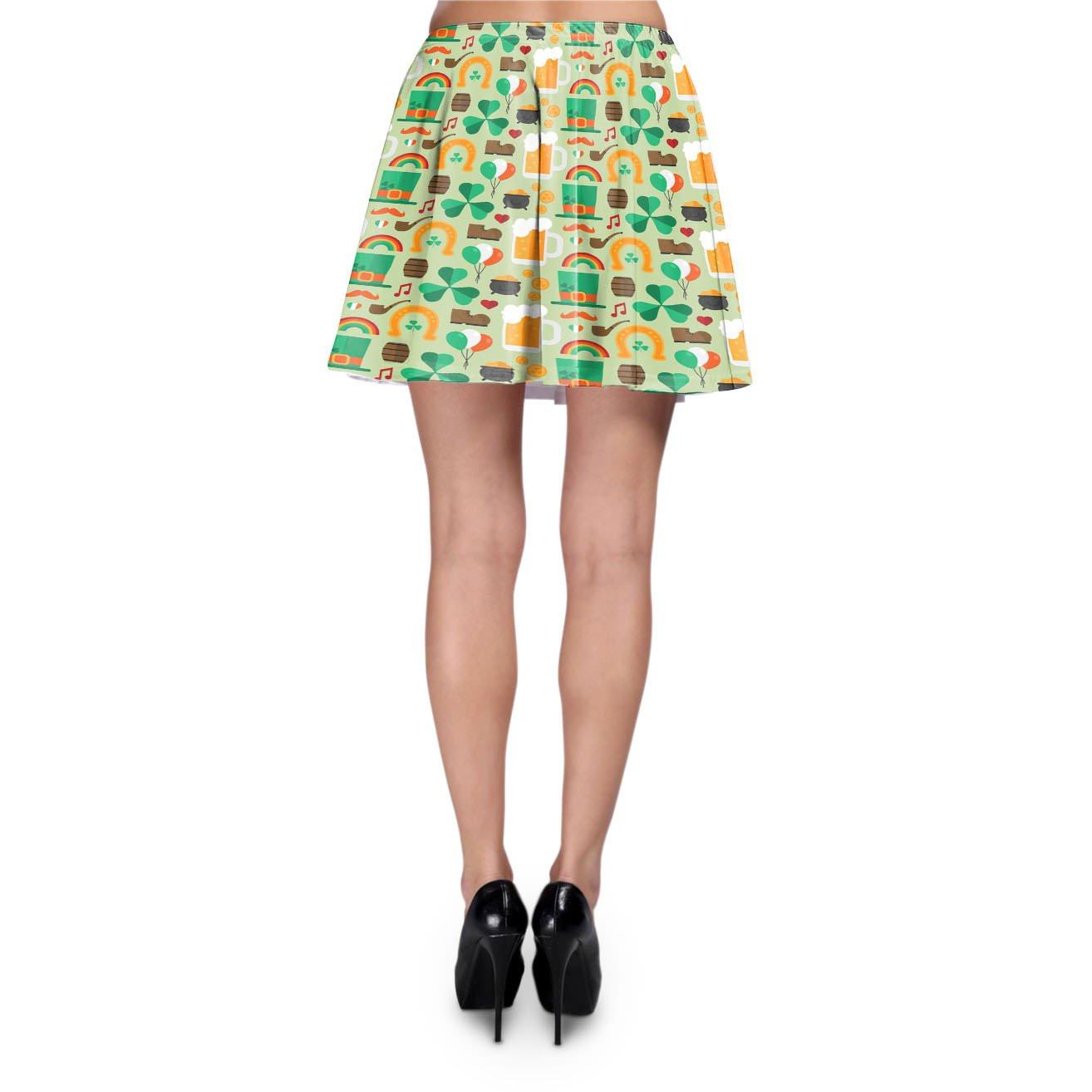 Lucky St Patricks Day Skater Skirt XS-3XL Stretch Flared Short Skirt