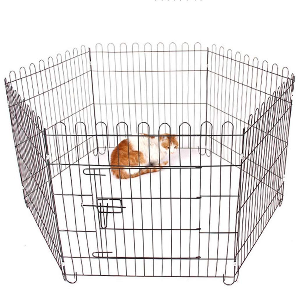 BLACK Zhijiecwl Pet Dog Pen Puppy Cat Rabbit Foldable Playpen Indoor Outdoor Enclosure Run Cage (Small  Height 62cm) (color   BLACK)