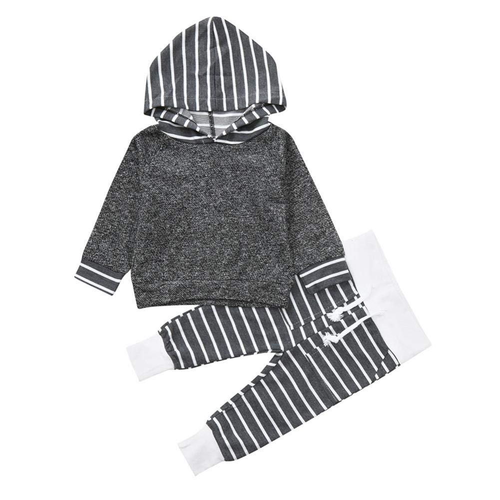 Newborn Autumn Sport Casual Sets,Jchen(TM) Cute Toddler Infant Baby Boys Girls Striped Camouflag Hooded Tops Pants Outfits for 0-24 Months (Age: 12-18 Months, Striped)