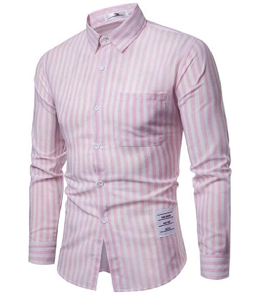 Fubotevic Mens Casual Regular Fit Long Sleeve Button Up Solid Color Shirt
