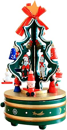 LHs stores Caja Musical Árbol de Navidad Caja de música Muñeco de Nieve Lindo Girar Musicbox Caja de música de Madera DIY niños Cajas de Musica (Color : Green): Amazon.es: Hogar