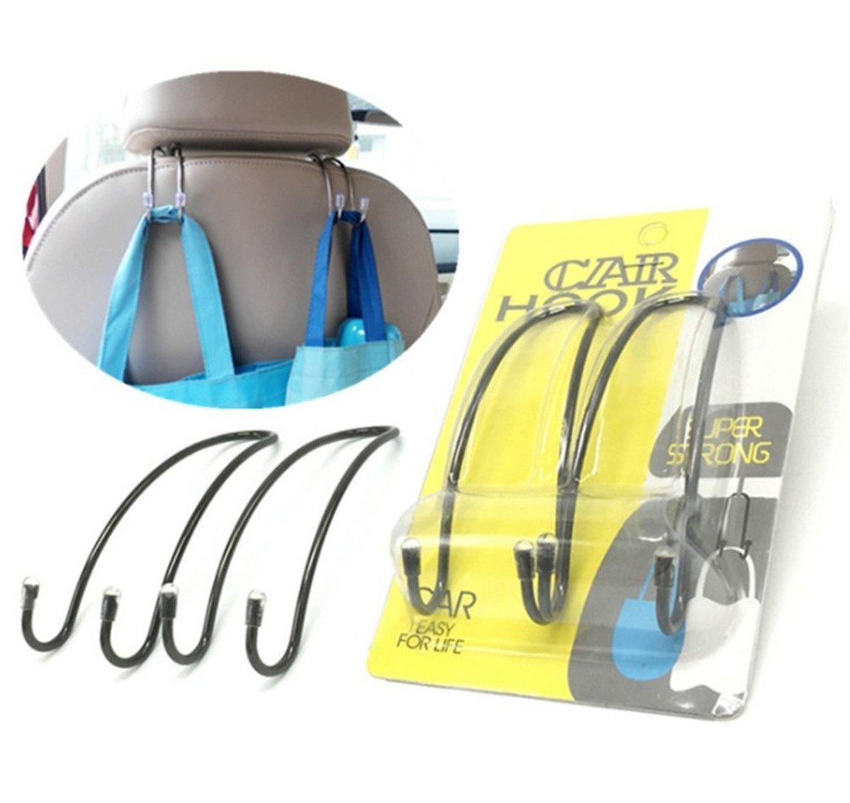 Black BININBOX 2pcs Set Car Mini Hanger Seat Headrest Hooks Metal Multi-Purpose Travel Vehicle Bag Grocery Auto Organizer