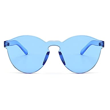 97a0fcb257 Women Men Oversized One Piece Clear Lens Rimless Tinted Sunglasses 58mm  Transparent Candy Color Eyewear Ultra
