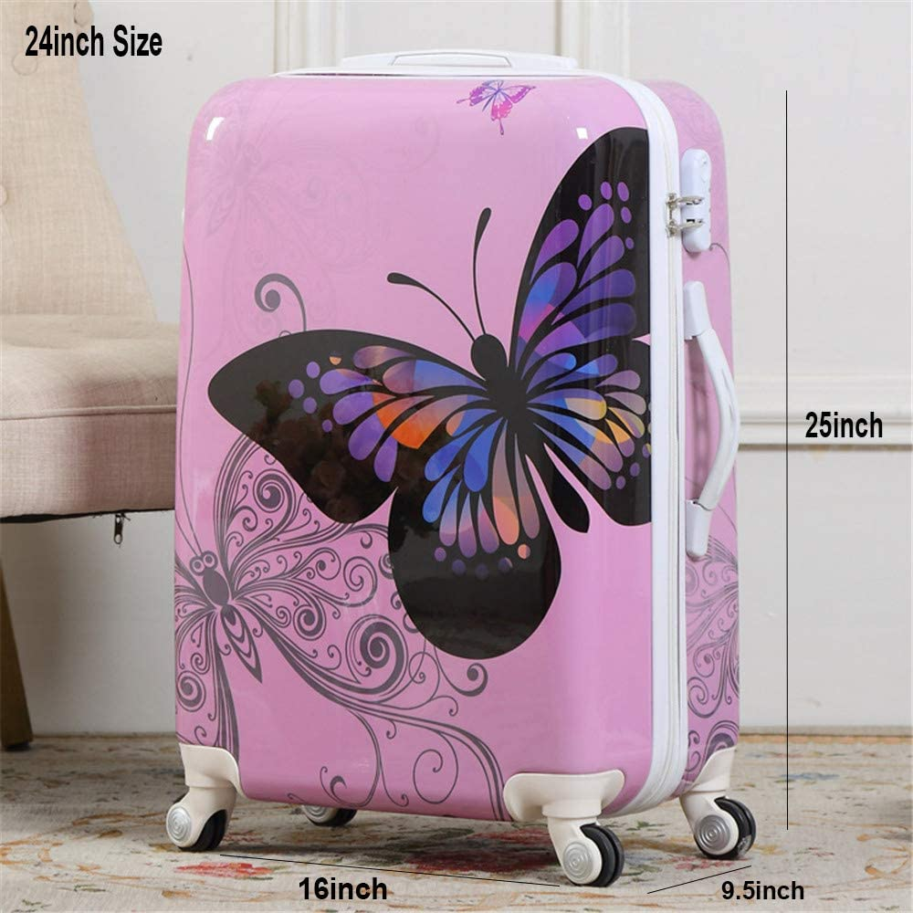 Pink, 20in White ABS Suitcase Cartoon Colorful Butterfly Pattern Carry On With Universal Wheels 20 in Lockable Luggage Case