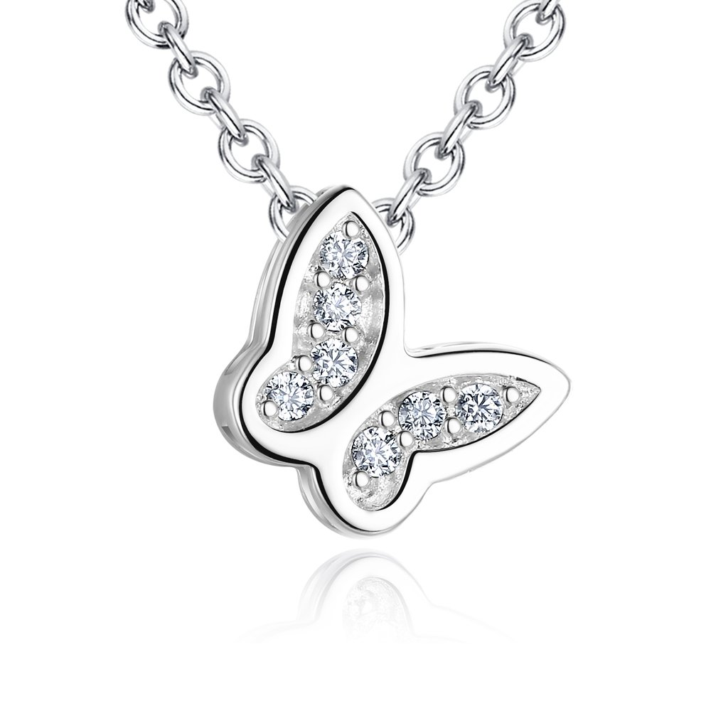 Ashley Jeweller Sterling Silver Butterfly Pendant Necklace 18