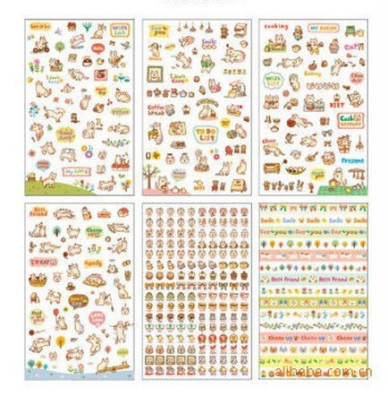 ONOR-Tech 6 Sheets Lovely Cat Decorative Adhesive Sticker Tape / Kids Craft Scrapbooking Sticker Set for Diary, Album