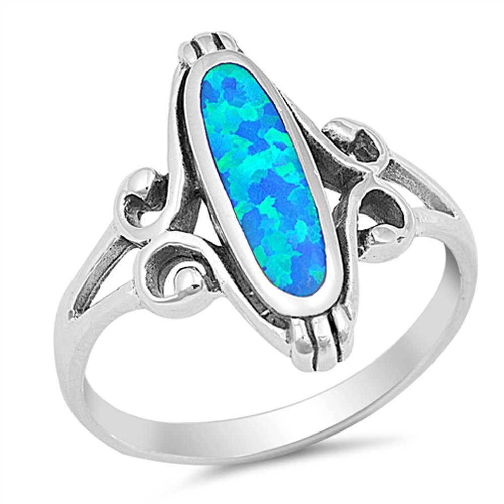 Blue Simulated Opal Long Oval Ring New .925 Sterling Silver Celtic Band Size 6
