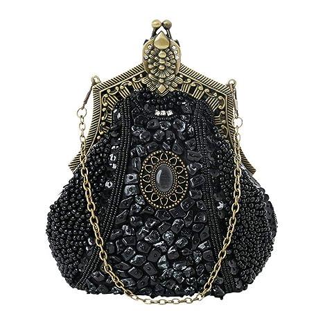 AOLVO - Bolso de Mano con Cuentas Antiguas, diseño Vintage con Cadena Durable, Bolso