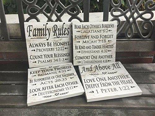 Amazon com: Family Rules Sign, Custom Canvas, Bible