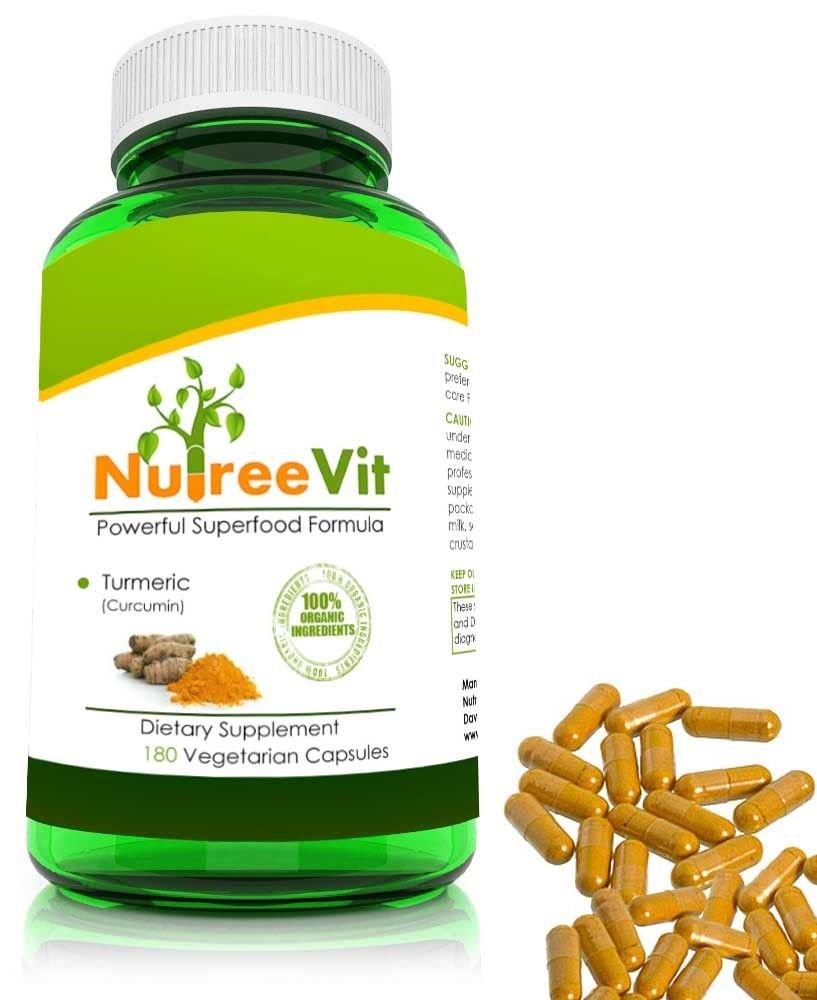 Pure Turmeric Curcumin - 180 Vegetable Capsules - High Potency Turmeric (60-Bottle)