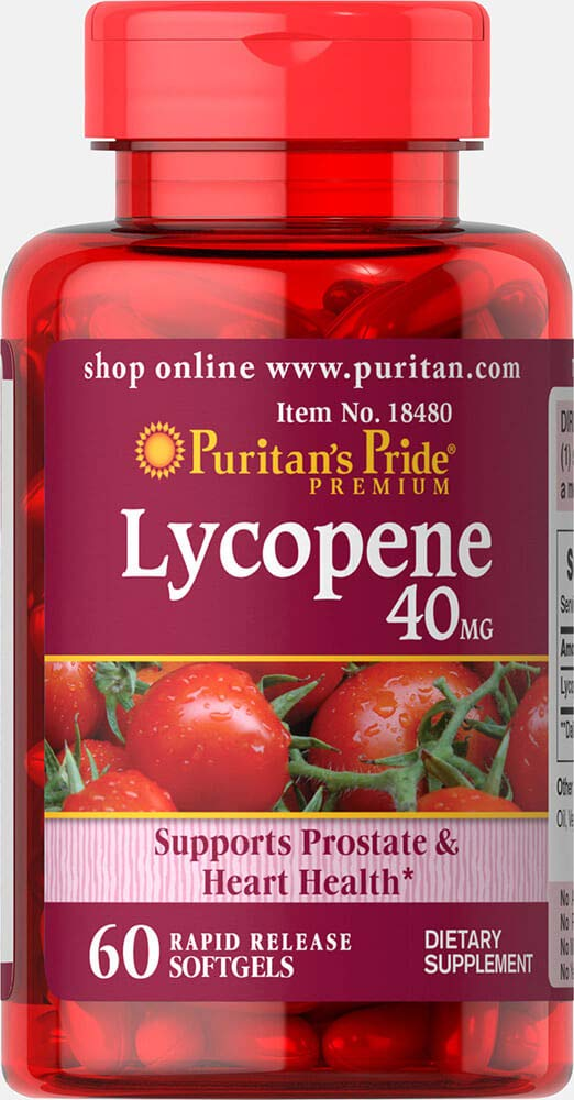 Puritan's Pride Lycopene 40 mg, Supplement for Prostate and Heart Health Support**, Contains Antioxidant Properties**, 60 Rapid Release Softgels by Puritan's Pride